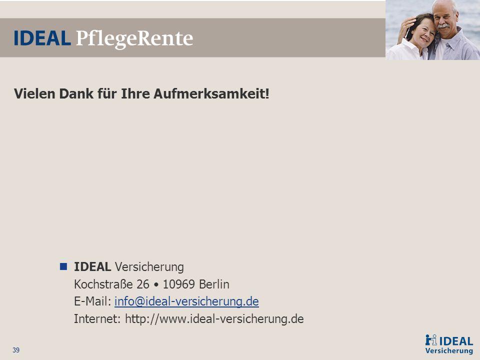 39 Vielen Dank für Ihre Aufmerksamkeit! IDEAL Versicherung Kochstraße 26 10969 Berlin E-Mail: info@ideal-versicherung.de Internet: http://www.ideal-ve