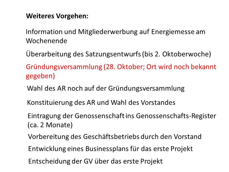 Weiteres Vorgehen: Information und Mitgliederwerbung auf Energiemesse am Wochenende Überarbeitung des Satzungsentwurfs (bis 2. Oktoberwoche) Gründungs
