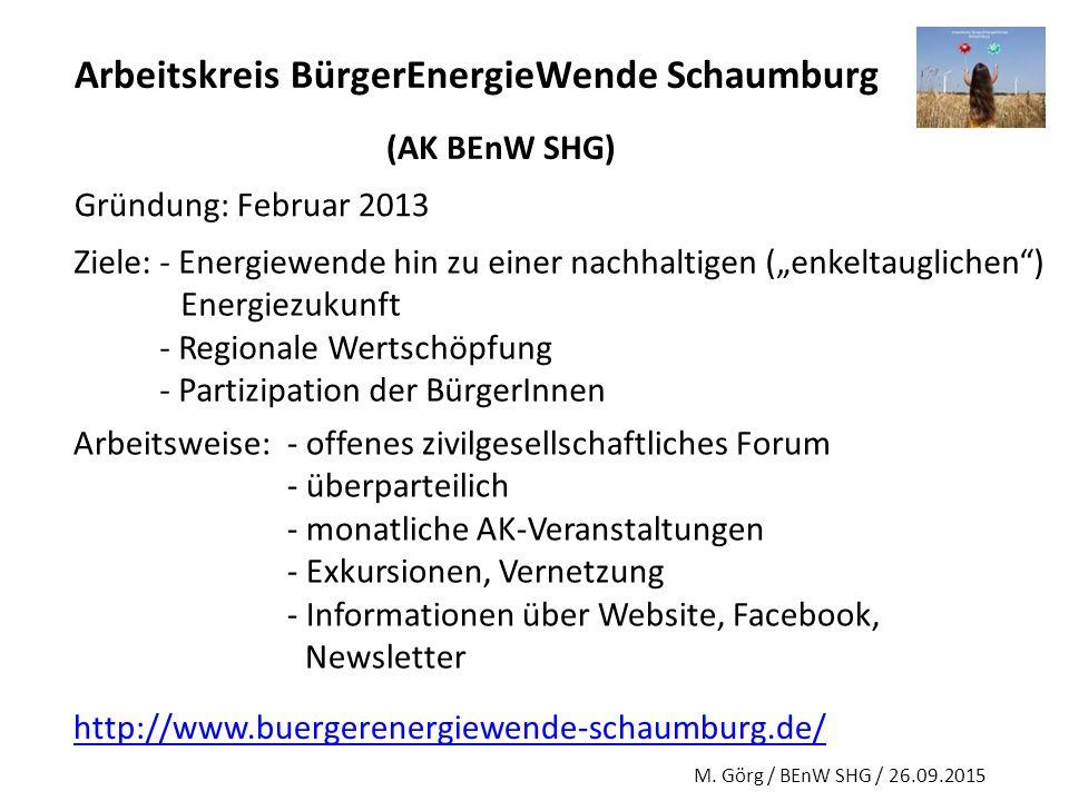"""Arbeitskreis BürgerEnergieWende Schaumburg (AK BEnW SHG) Gründung: Februar 2013 Ziele: - Energiewende hin zu einer nachhaltigen (""""enkeltauglichen"""") En"""