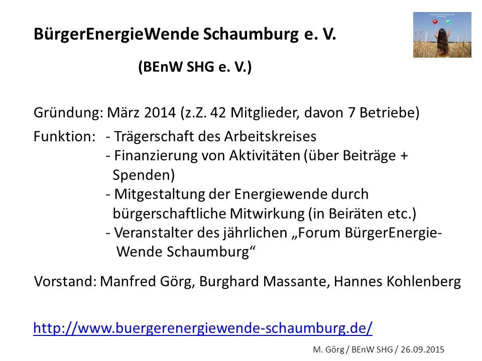 BürgerEnergieWende Schaumburg e. V. (BEnW SHG e. V.) Gründung: März 2014 (z.Z. 42 Mitglieder, davon 7 Betriebe) Funktion:- Trägerschaft des Arbeitskre