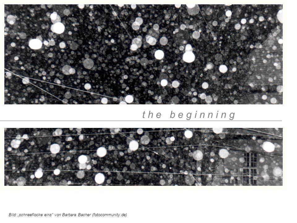 "t h e b e g i n n i n g Bild: ""schneeflocke eins"" von Barbara Bacher (fotocommunity.de)"