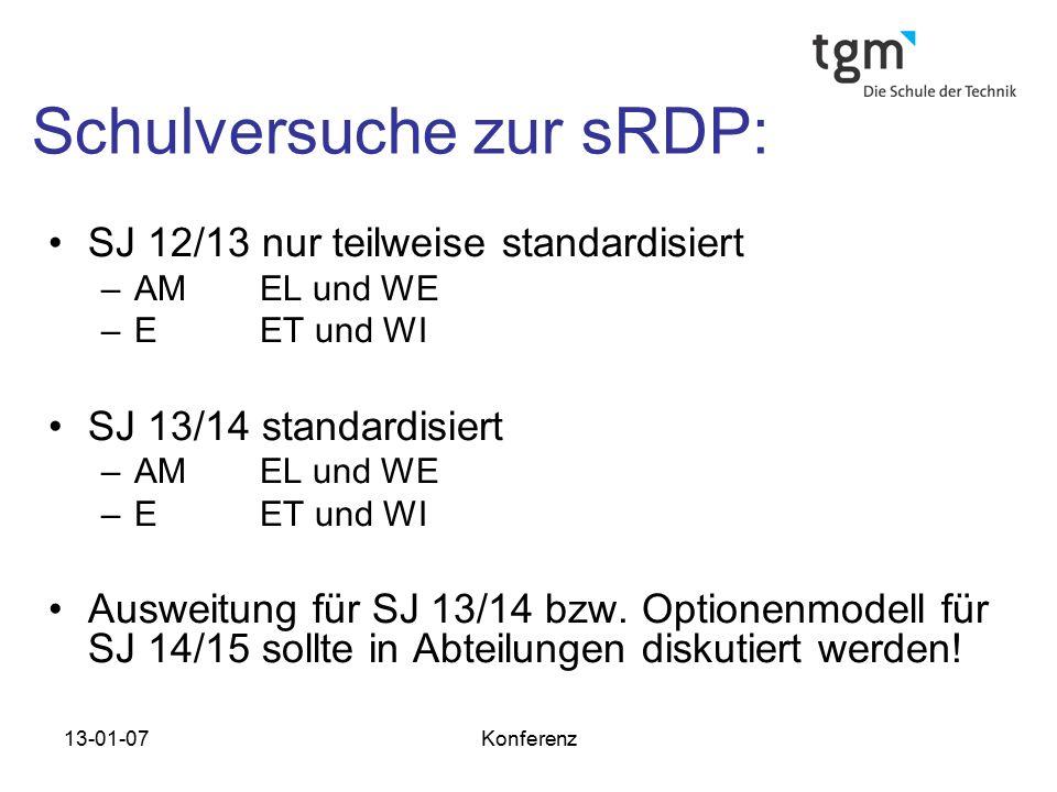 13-01-07Konferenz Schulversuche zur sRDP: SJ 12/13 nur teilweise standardisiert –AM EL und WE –EET und WI SJ 13/14 standardisiert –AM EL und WE –EET u