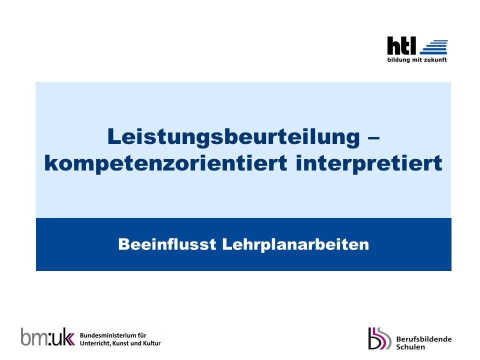 Leistungsbeurteilung – kompetenzorientiert interpretiert Beeinflusst Lehrplanarbeiten
