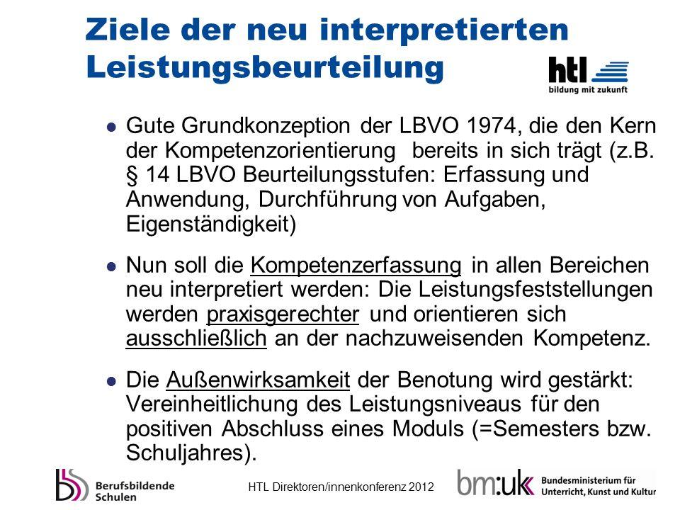 HTL Direktoren/innenkonferenz 2012 Ziele der neu interpretierten Leistungsbeurteilung Gute Grundkonzeption der LBVO 1974, die den Kern der Kompetenzor