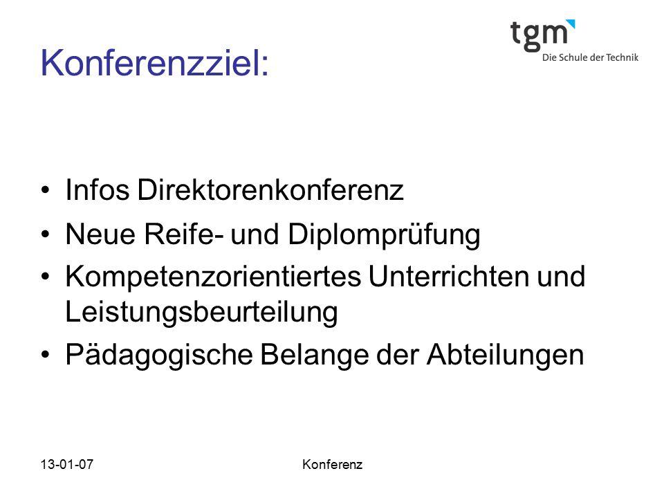 13-01-07Konferenz Konferenzziel: Infos Direktorenkonferenz Neue Reife- und Diplomprüfung Kompetenzorientiertes Unterrichten und Leistungsbeurteilung P