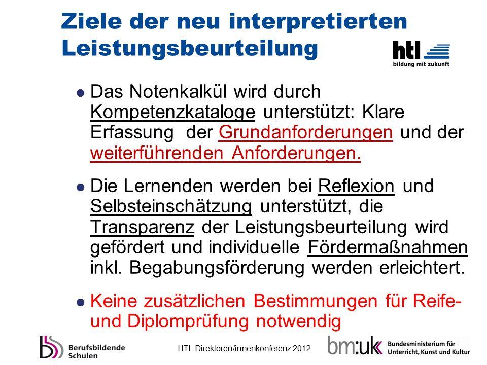 HTL Direktoren/innenkonferenz 2012 Ziele der neu interpretierten Leistungsbeurteilung Das Notenkalkül wird durch Kompetenzkataloge unterstützt: Klare
