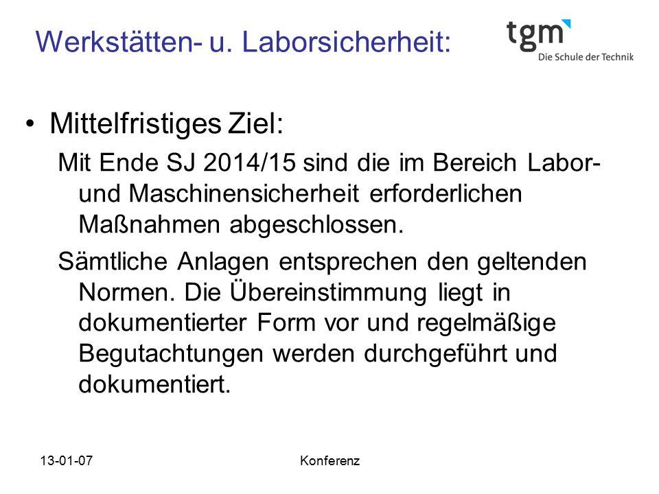 13-01-07Konferenz Werkstätten- u. Laborsicherheit: Mittelfristiges Ziel: Mit Ende SJ 2014/15 sind die im Bereich Labor- und Maschinensicherheit erford