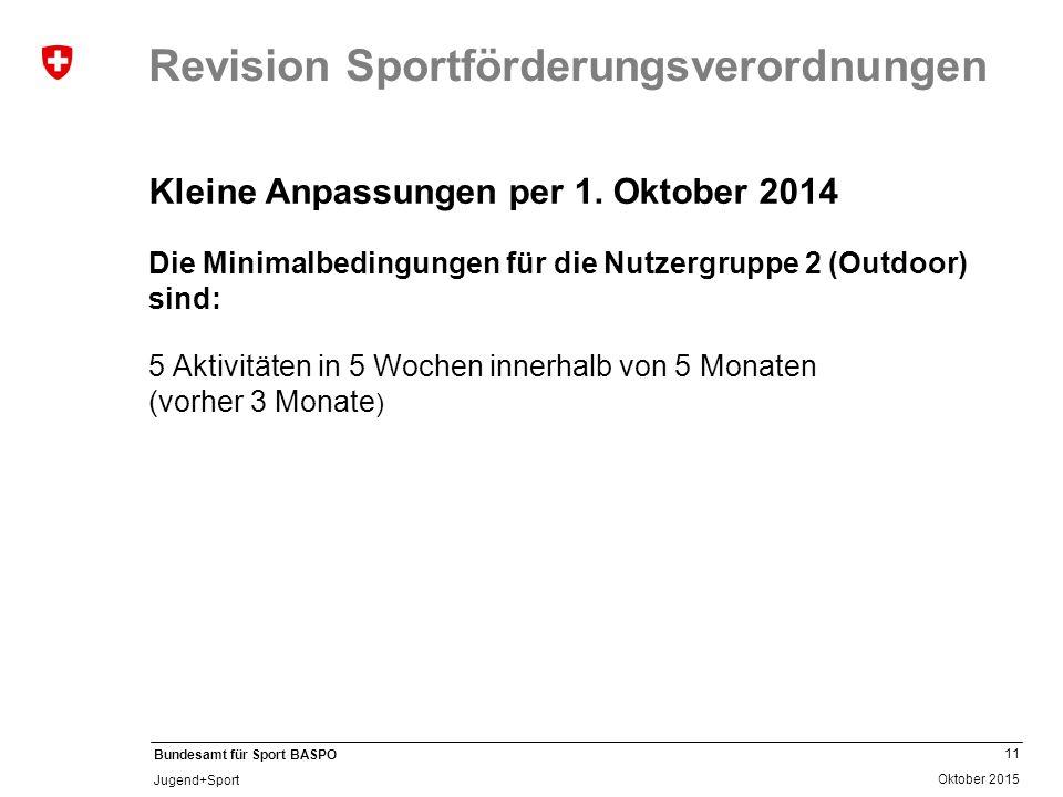 11 Oktober 2015 Bundesamt für Sport BASPO Jugend+Sport Revision Sportförderungsverordnungen Kleine Anpassungen per 1. Oktober 2014 Die Minimalbedingun
