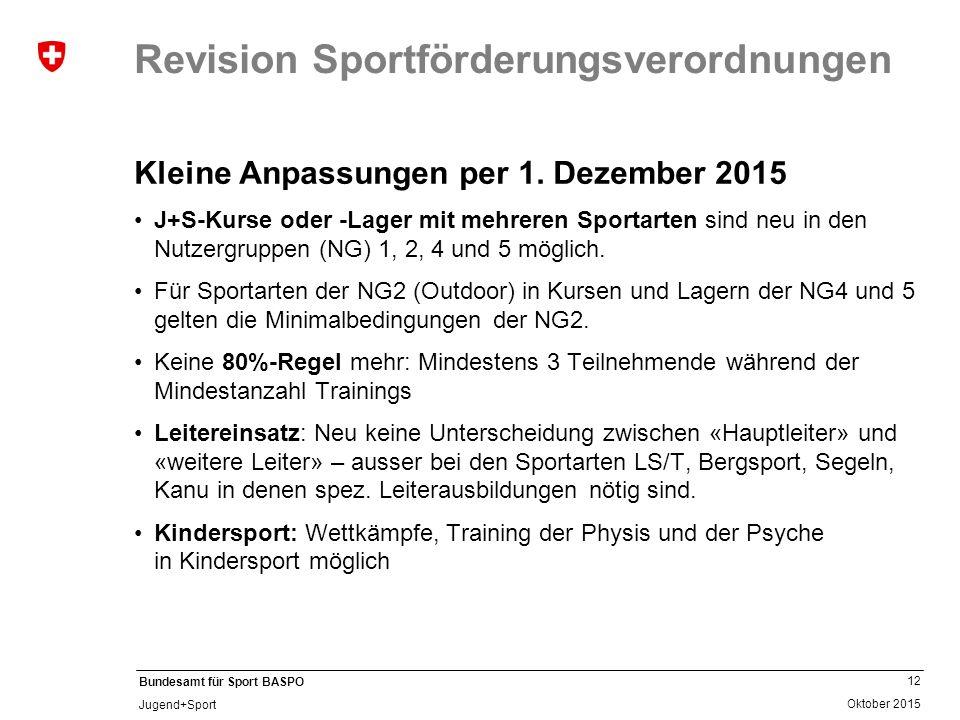 12 Oktober 2015 Bundesamt für Sport BASPO Jugend+Sport Revision Sportförderungsverordnungen Kleine Anpassungen per 1. Dezember 2015 J+S-Kurse oder -La