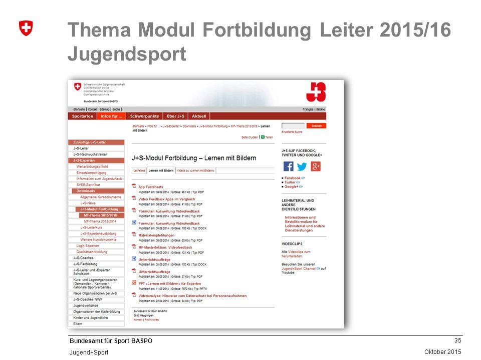 35 Oktober 2015 Bundesamt für Sport BASPO Jugend+Sport Thema Modul Fortbildung Leiter 2015/16 Jugendsport