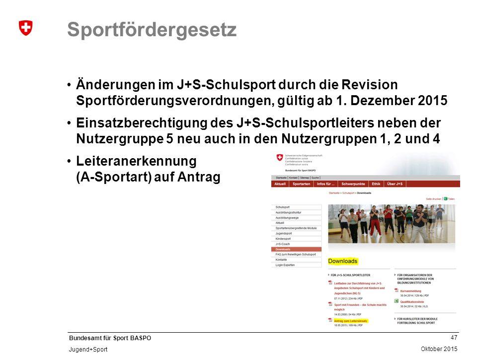 47 Oktober 2015 Bundesamt für Sport BASPO Jugend+Sport Sportfördergesetz Änderungen im J+S-Schulsport durch die Revision Sportförderungsverordnungen,
