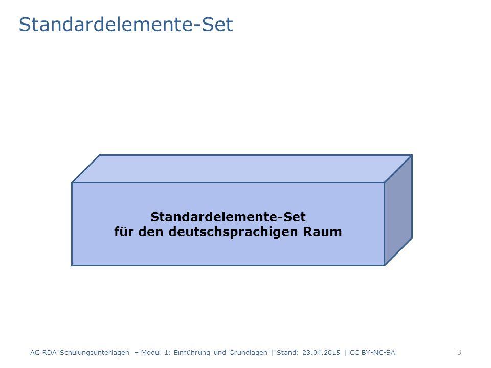 Standardelemente-Set 3 AG RDA Schulungsunterlagen – Modul 1: Einführung und Grundlagen | Stand: 23.04.2015 | CC BY-NC-SA Standardelemente-Set für den deutschsprachigen Raum