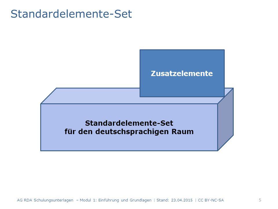 Standardelemente-Set 5 AG RDA Schulungsunterlagen – Modul 1: Einführung und Grundlagen | Stand: 23.04.2015 | CC BY-NC-SA Standardelemente-Set für den deutschsprachigen Raum Zusatzelemente