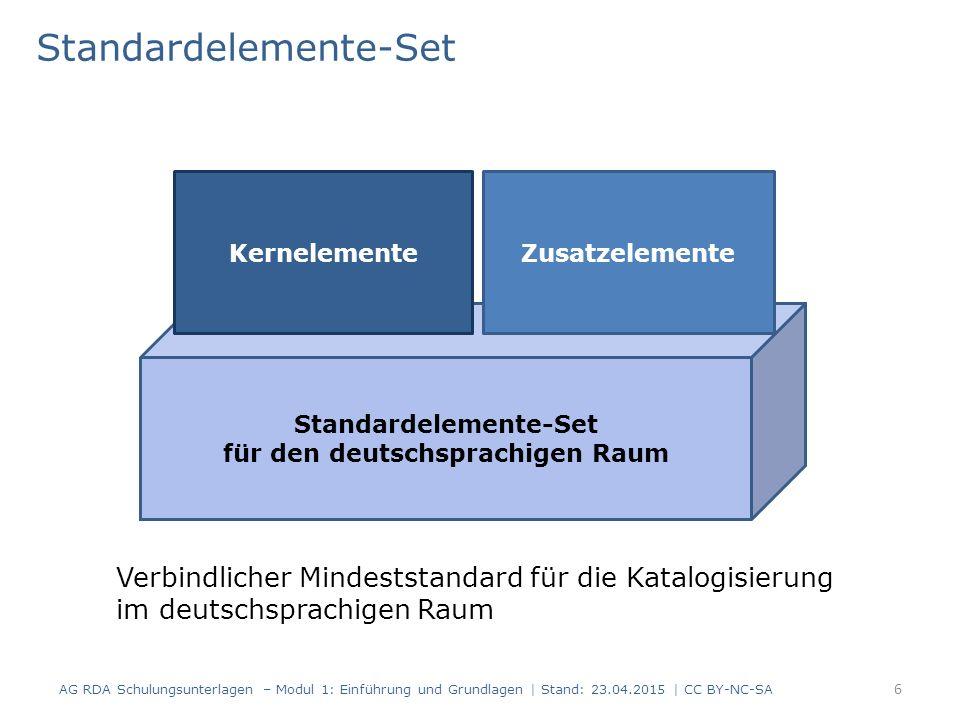 Kernelemente und Zusatzelemente Es gibt also im deutschsprachigen Raum: Kernelemente Kernelemente, nur unter bestimmten Bedingungen Zusatzelemente Zusatzelemente, nur unter bestimmten Bedingungen [Ergänzung Nationalbibliotheken: es gibt verpflichtende Angaben nur für die Nationalbibliotheken] AG RDA Schulungsunterlagen – Modul 2.01: Standardelemente-Set | Stand: 19.06.2015 | CC BY-NC-SA 7