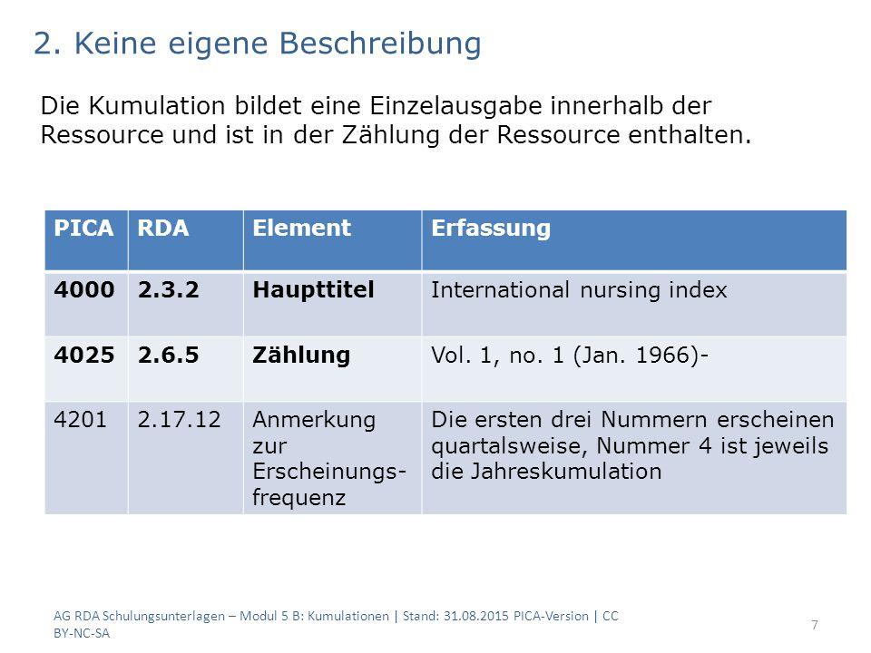 AG RDA Schulungsunterlagen – Modul 5 B: Kumulationen | Stand: 31.08.2015 PICA-Version | CC BY-NC-SA 7 PICARDAElementErfassung 40002.3.2HaupttitelInternational nursing index 40252.6.5ZählungVol.