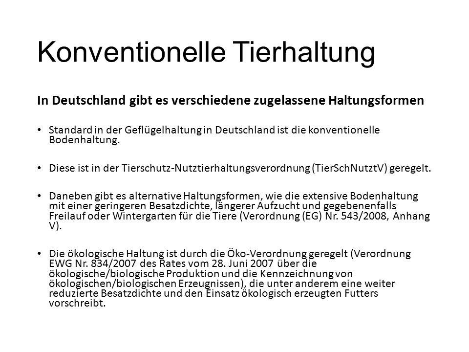 Konventionelle Tierhaltung In Deutschland gibt es verschiedene zugelassene Haltungsformen Standard in der Geflügelhaltung in Deutschland ist die konve