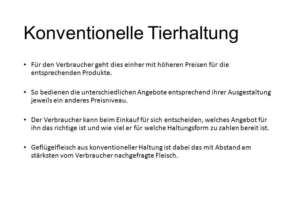 Konventionelle Tierhaltung Für den Verbraucher geht dies einher mit höheren Preisen für die entsprechenden Produkte. So bedienen die unterschiedlichen