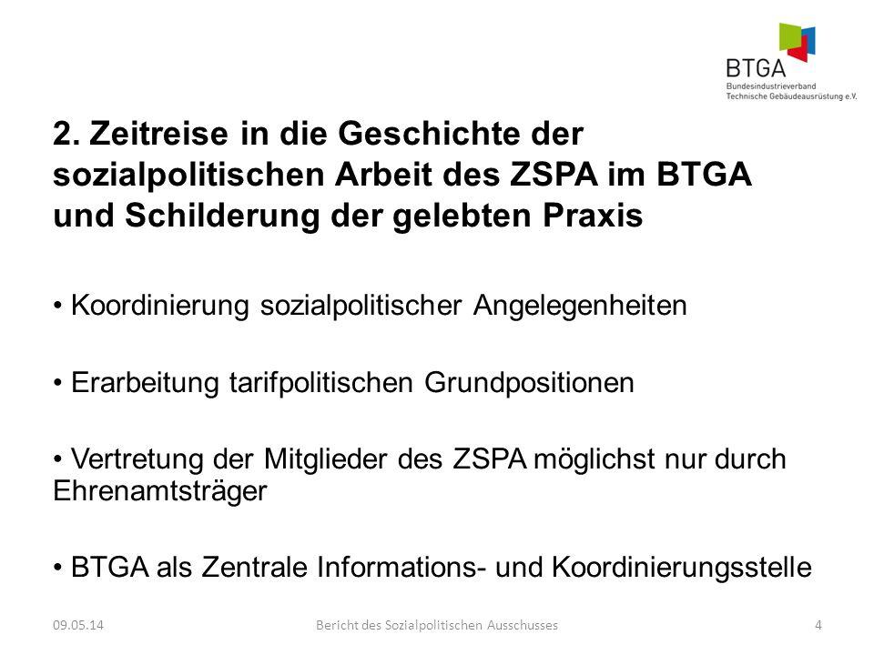 2. Zeitreise in die Geschichte der sozialpolitischen Arbeit des ZSPA im BTGA und Schilderung der gelebten Praxis Koordinierung sozialpolitischer Angel