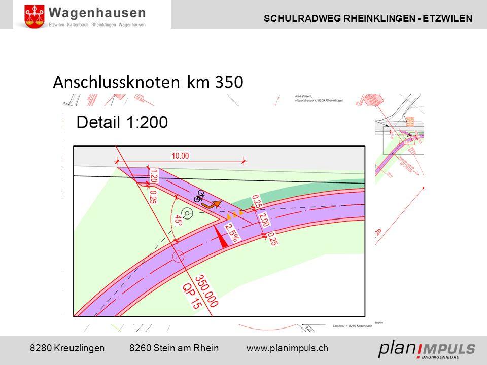 SCHULRADWEG RHEINKLINGEN - ETZWILEN 8280 Kreuzlingen 8260 Stein am Rhein www.planimpuls.ch Anschlussknoten km 350