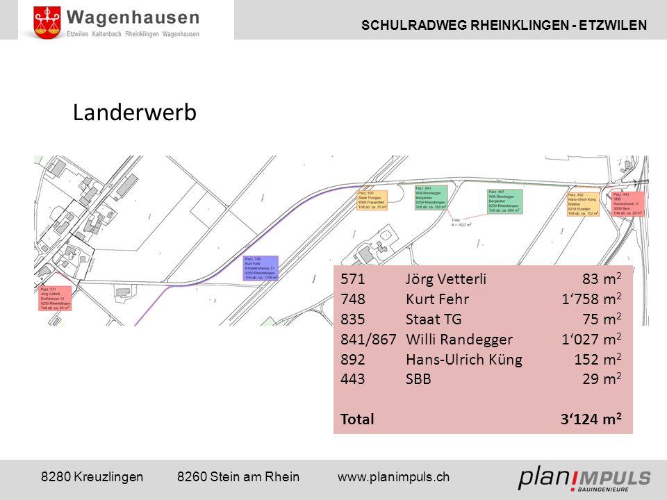 SCHULRADWEG RHEINKLINGEN - ETZWILEN 8280 Kreuzlingen 8260 Stein am Rhein www.planimpuls.ch Landerwerb 571Jörg Vetterli83 m 2 748Kurt Fehr1'758 m 2 835Staat TG75 m 2 841/867Willi Randegger1'027 m 2 892Hans-Ulrich Küng152 m 2 443SBB29 m 2 Total3'124 m 2