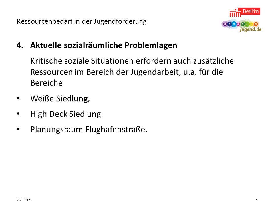 2.7.2015 Ressourcenbedarf in der Jugendförderung 5 4.Aktuelle sozialräumliche Problemlagen Kritische soziale Situationen erfordern auch zusätzliche Re