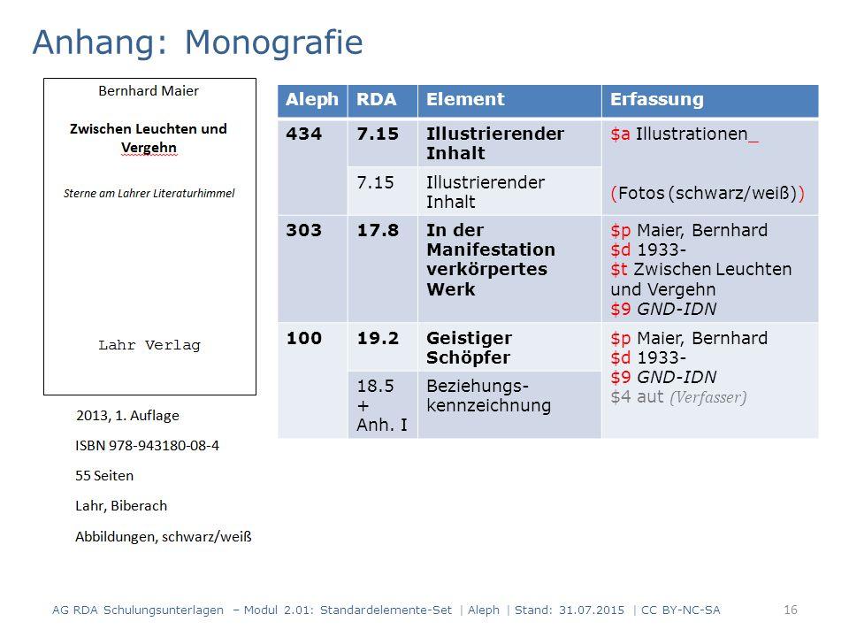 Anhang: Monografie 16 AG RDA Schulungsunterlagen – Modul 2.01: Standardelemente-Set | Aleph | Stand: 31.07.2015 | CC BY-NC-SA AlephRDAElementErfassung
