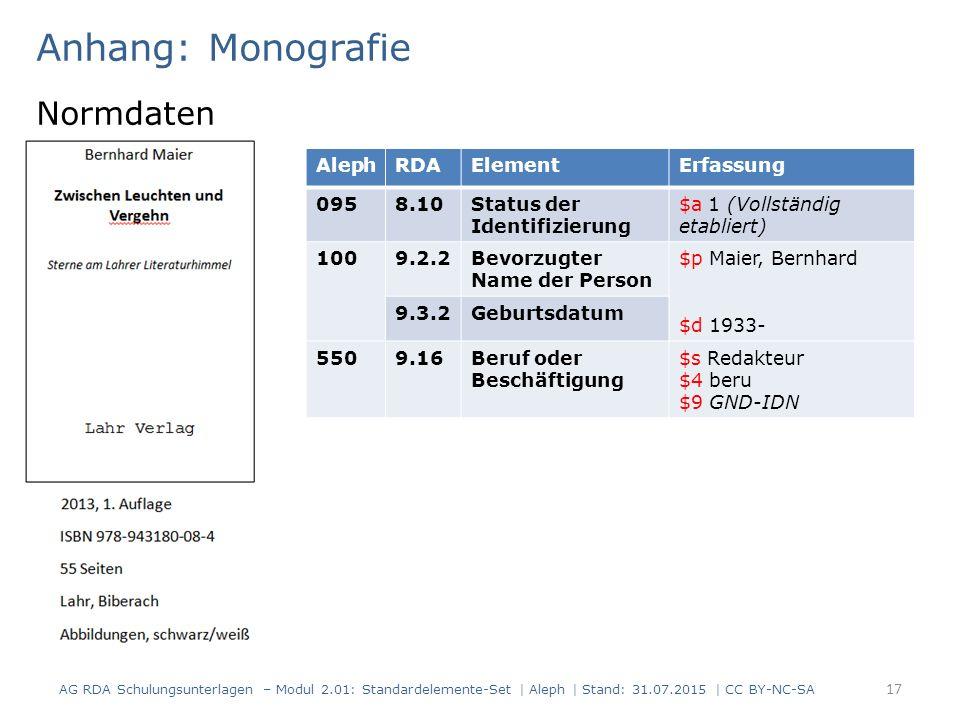 Anhang: Monografie Normdaten 17 AG RDA Schulungsunterlagen – Modul 2.01: Standardelemente-Set | Aleph | Stand: 31.07.2015 | CC BY-NC-SA AlephRDAElemen