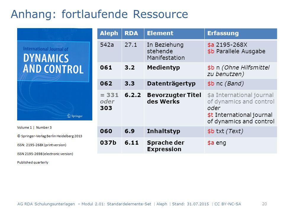 Anhang: fortlaufende Ressource AG RDA Schulungsunterlagen – Modul 2.01: Standardelemente-Set | Aleph | Stand: 31.07.2015 | CC BY-NC-SA 20 AlephRDAElem