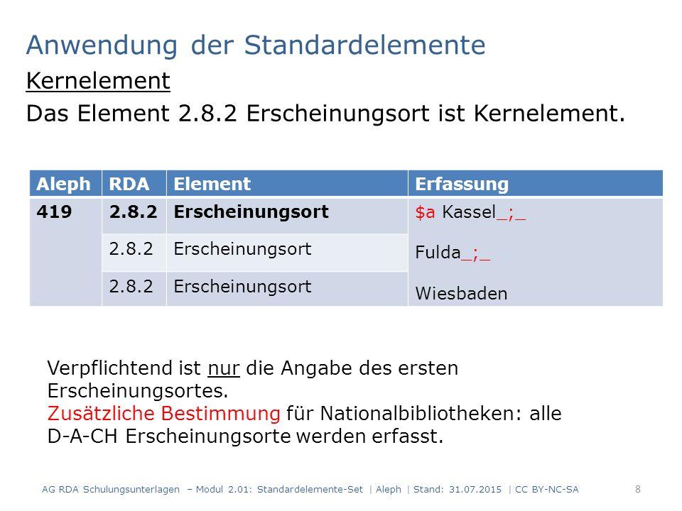 Anwendung der Standardelemente Kernelement Das Element 2.8.2 Erscheinungsort ist Kernelement. 8 Verpflichtend ist nur die Angabe des ersten Erscheinun