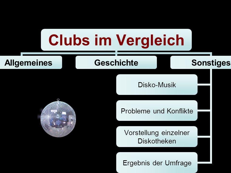 Allgemeines GeschichteSonstiges Disko-Musik Probleme und Konflikte Vorstellung einzelner Diskotheken Ergebnis der Umfrage