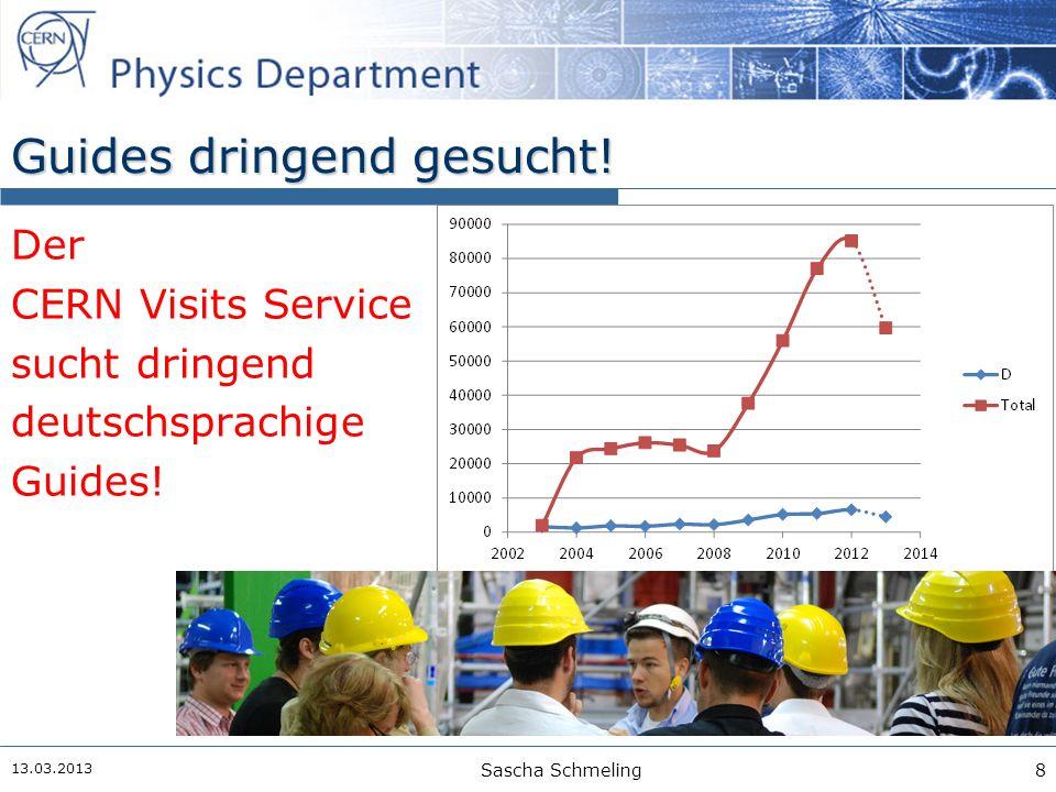 Guides dringend gesucht! Der CERN Visits Service sucht dringend deutschsprachige Guides! 13.03.2013 Sascha Schmeling8