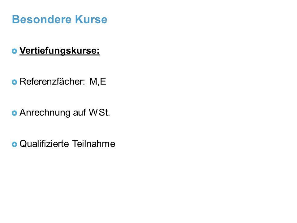 Besondere Kurse Vertiefungskurse: Referenzfächer: M,E Anrechnung auf WSt. Qualifizierte Teilnahme