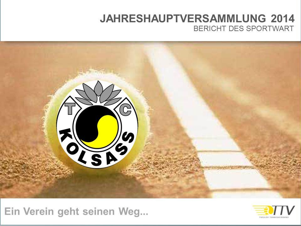 JAHRESHAUPTVERSAMMLUNG 2014 Ein Verein geht seinen Weg... BERICHT DES SPORTWART