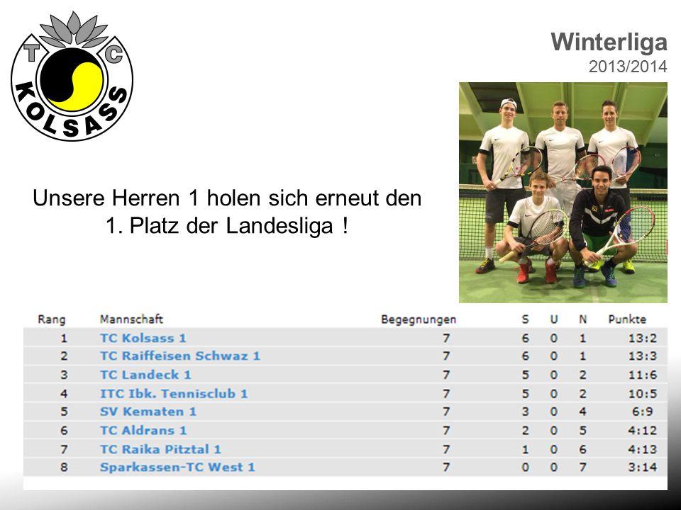 Winterliga 2013/2014 Unsere Herren 1 holen sich erneut den 1. Platz der Landesliga !