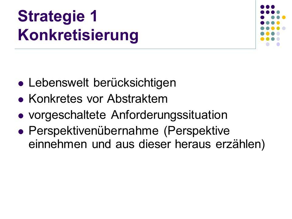 Strategie 1 Konkretisierung Lebenswelt berücksichtigen Konkretes vor Abstraktem vorgeschaltete Anforderungssituation Perspektivenübernahme (Perspektiv