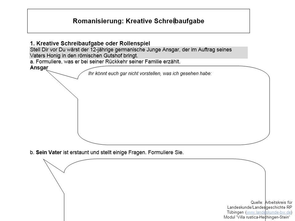 """Quelle: Arbeitskreis für Landeskunde/Landesgeschichte RP Tübingen (www.landeskunde-bw.de)www.landeskunde-bw.de Modul """"Villa rustica-Hechingen-Stein"""""""