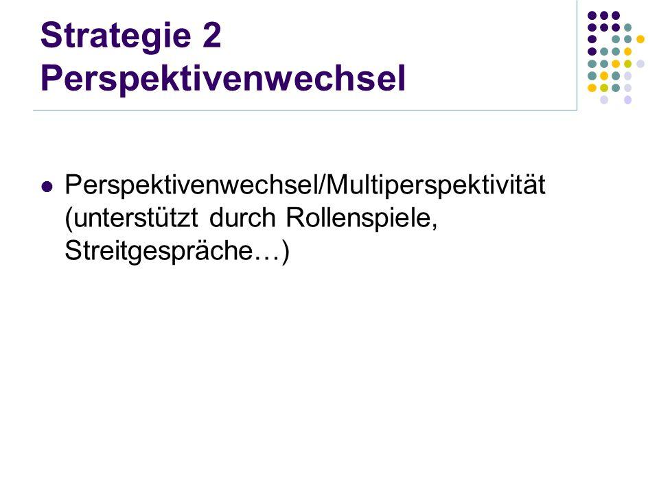 Strategie 2 Perspektivenwechsel Perspektivenwechsel/Multiperspektivität (unterstützt durch Rollenspiele, Streitgespräche…)