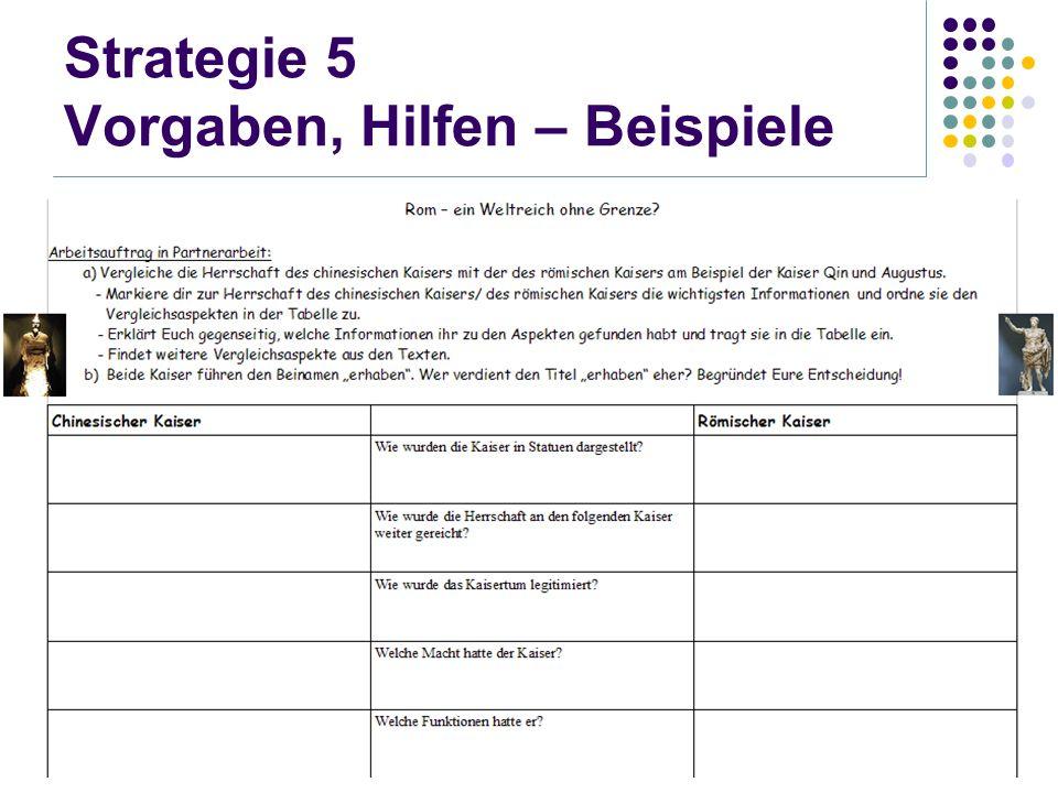 Strategie 5 Vorgaben, Hilfen – Beispiele