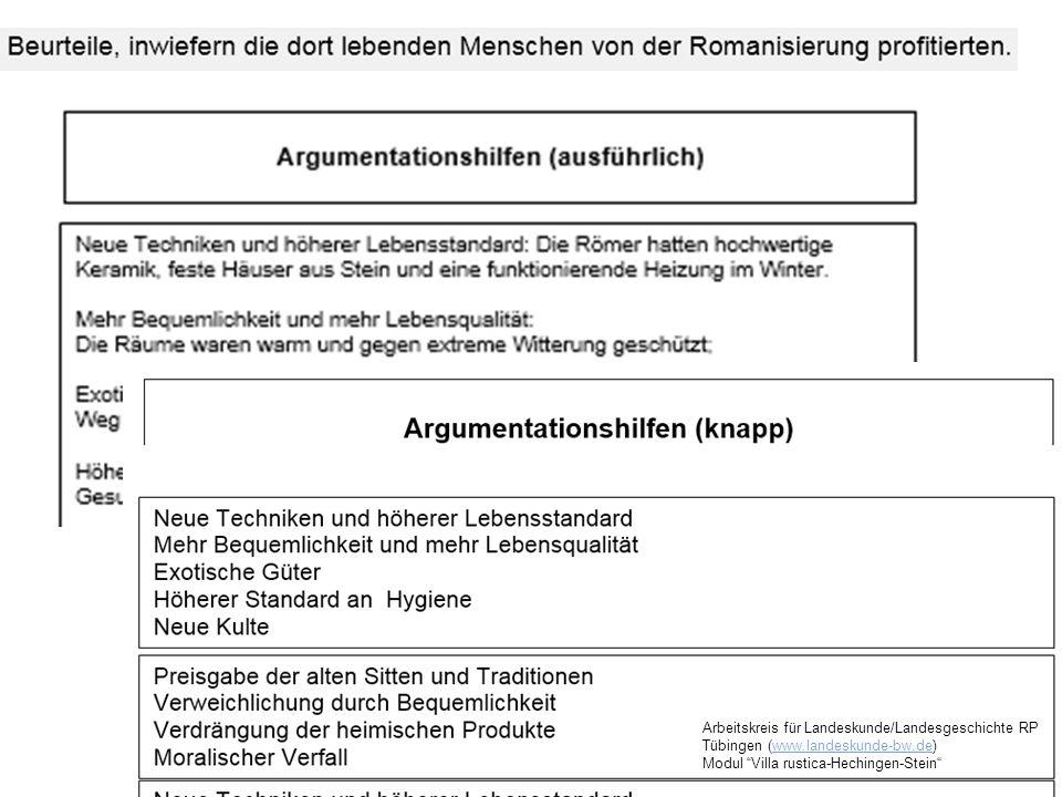 """Arbeitskreis für Landeskunde/Landesgeschichte RP Tübingen (www.landeskunde-bw.de)www.landeskunde-bw.de Modul """"Villa rustica-Hechingen-Stein"""""""