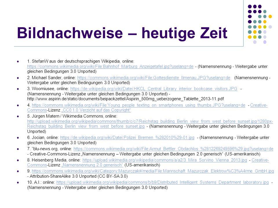 Bildnachweise – heutige Zeit 1. StefanW aus der deutschsprachigen Wikipedia, online: https://commons.wikimedia.org/wiki/File:Bahnhof_Marburg_Anzeigeta