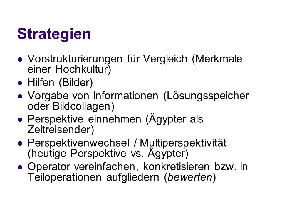 Strategien Vorstrukturierungen für Vergleich (Merkmale einer Hochkultur) Hilfen (Bilder) Vorgabe von Informationen (Lösungsspeicher oder Bildcollagen)