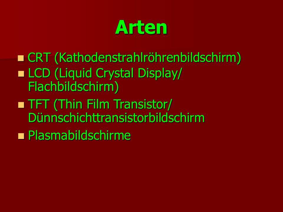 Arten CRT (Kathodenstrahlröhrenbildschirm) CRT (Kathodenstrahlröhrenbildschirm) LCD (Liquid Crystal Display/ Flachbildschirm) LCD (Liquid Crystal Disp