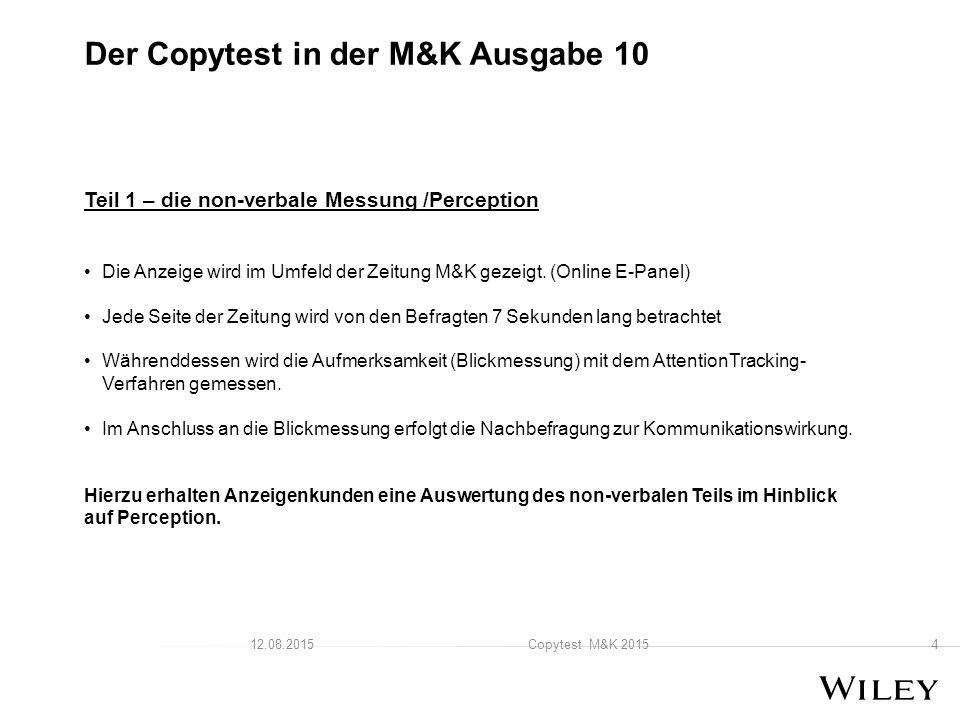 Teil 1 – die non-verbale Messung /Perception Die Anzeige wird im Umfeld der Zeitung M&K gezeigt.