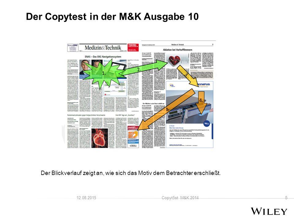 5 Copyt5st M&K 201412.08.2015 Der Copytest in der M&K Ausgabe 10 Der Blickverlauf zeigt an, wie sich das Motiv dem Betrachter erschließt.