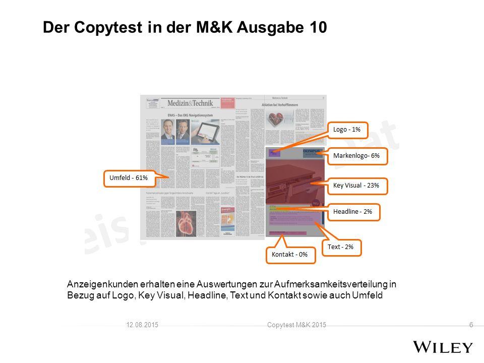 6 Copytest M&K 201512.08.2015 Der Copytest in der M&K Ausgabe 10 Anzeigenkunden erhalten eine Auswertungen zur Aufmerksamkeitsverteilung in Bezug auf Logo, Key Visual, Headline, Text und Kontakt sowie auch Umfeld