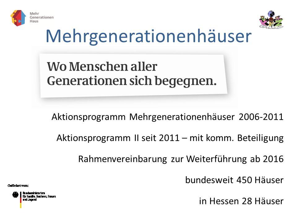 Aktionsprogramm Mehrgenerationenhäuser 2006-2011 Aktionsprogramm II seit 2011 – mit komm. Beteiligung Rahmenvereinbarung zur Weiterführung ab 2016 bun