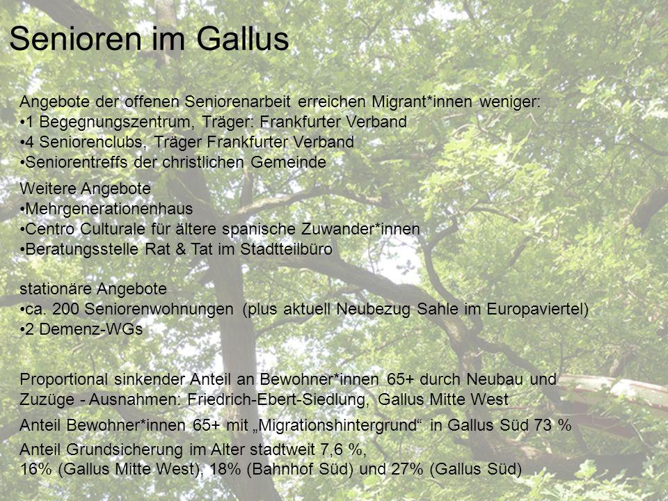 Sozialraum Gallus Senioren im Gallus Angebote der offenen Seniorenarbeit erreichen Migrant*innen weniger: 1 Begegnungszentrum, Träger: Frankfurter Ver