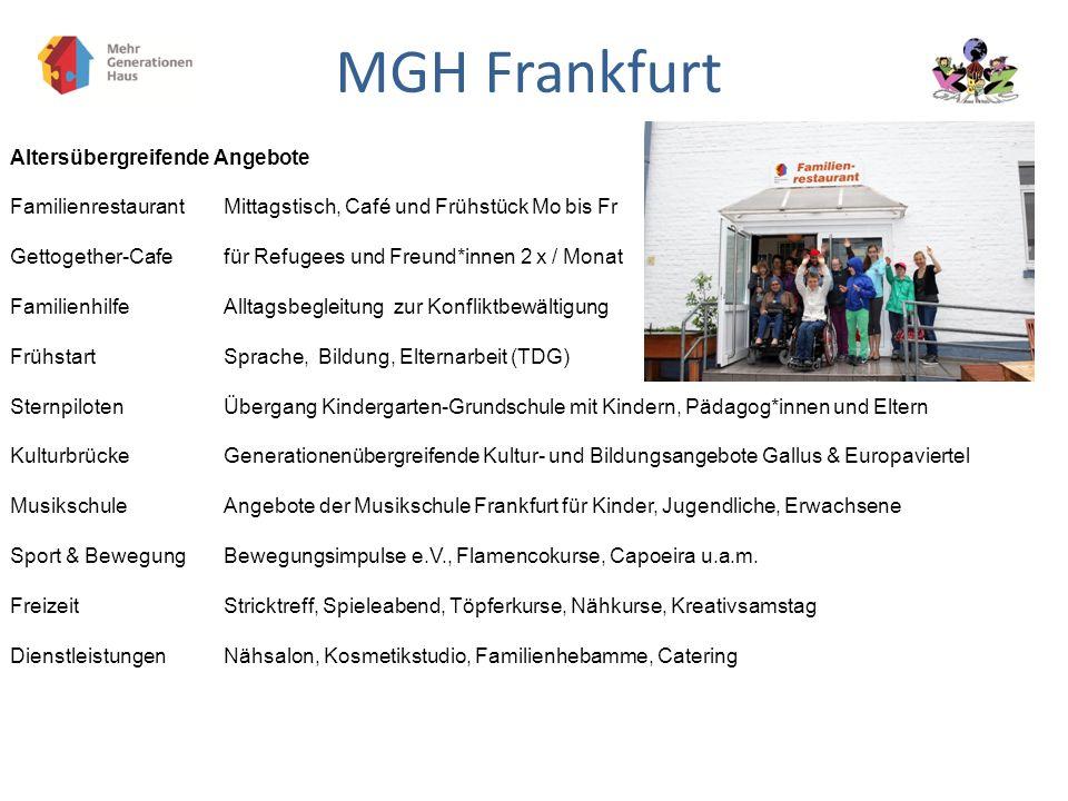 MGH Frankfurt Altersübergreifende Angebote Familienrestaurant Mittagstisch, Café und Frühstück Mo bis Fr Gettogether-Cafefür Refugees und Freund*innen