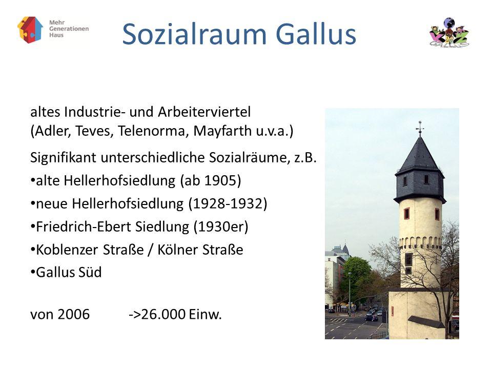 Sozialraum Gallus altes Industrie- und Arbeiterviertel (Adler, Teves, Telenorma, Mayfarth u.v.a.) Signifikant unterschiedliche Sozialräume, z.B. alte