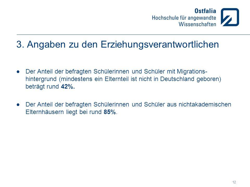 3. Angaben zu den Erziehungsverantwortlichen ●Der Anteil der befragten Schülerinnen und Schüler mit Migrations- hintergrund (mindestens ein Elternteil